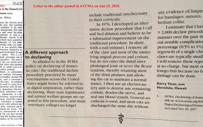 JAVMA Gives A Platform to AVMA Vet Who Claims Declaw Method is Painless and Uses No Pain Meds
