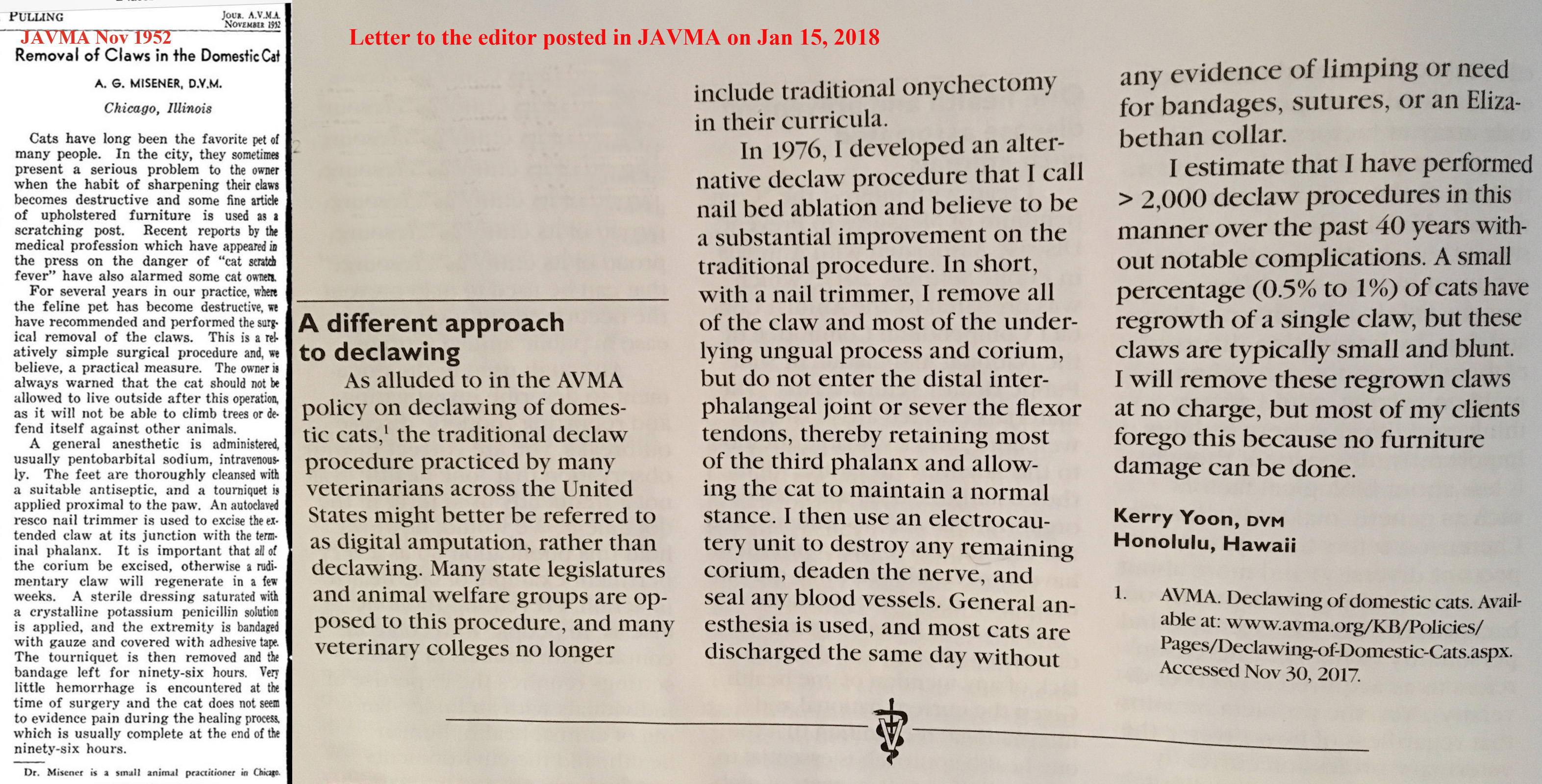 JAVMA Gives A Platform to AVMA Vet Who Claims Declaw Method is ...